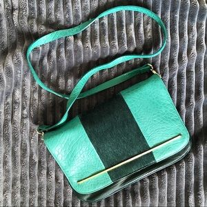 French Connection Green Horsehair Crossbody/Clutch